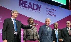Bill Gates presents at the Commonwealth Malaria Summit 2018. Photo: Malaria No More UK