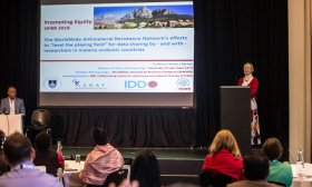 Karen Barnes presenting at the Global Forum on Bioethics in Research side meeting in South Africa 2018. Credit; Wellcome Trust / SAMRC