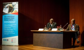 Profs Oumar Gaye and Bernhards Ogutu co-chairing the WWARN-IDDO data-sharing panel. Credit: EDCTP forum