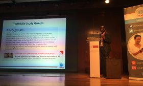 Paul Sondo presents at the 9th EDCTP Forum Lisbon, Portugal. Credit Andrea Stewart