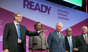 Bill Gates presents at the Commonwealth Malaria Summit 2018. Photo: Malaria No More UK