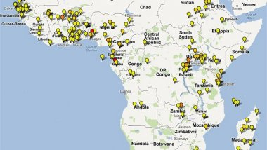 Map depicting location of artemisinin-based combination therapy clinical studies conducted in Africa 2000-2010