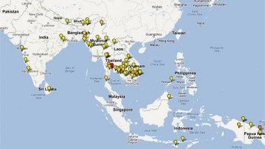 Map depicting location of artemisinin-based combination therapy clinical studies conducted in Asia 2000-2010