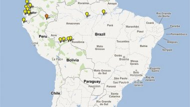 Map depicting location of artemisinin-based combination therapy clinical studies conducted in Latin America 2000-2010