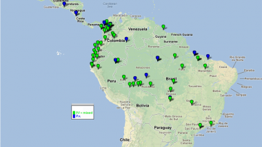 Map of South America displaying published clinical trials in the WWARN reference library