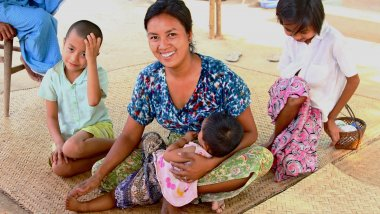 A mother and her children in Myanmar