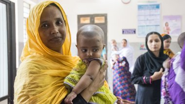 women and children at health centre