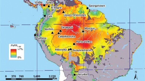 Map showing sites of recent in vivo studies of chloroquine treatment for Plasmodium vivax infections in South America.