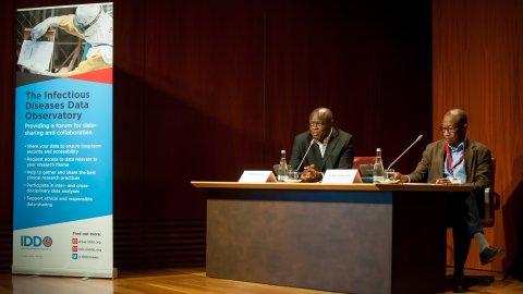 Profs Oumar Gaye and Bernhards Ogutu co-chairing the WWARN-IDDO data-sharing panel. Credit: EDCTP forum