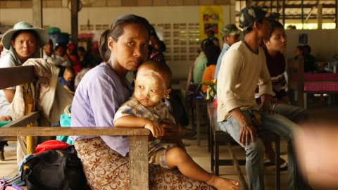 Mother and child in malaria clinic