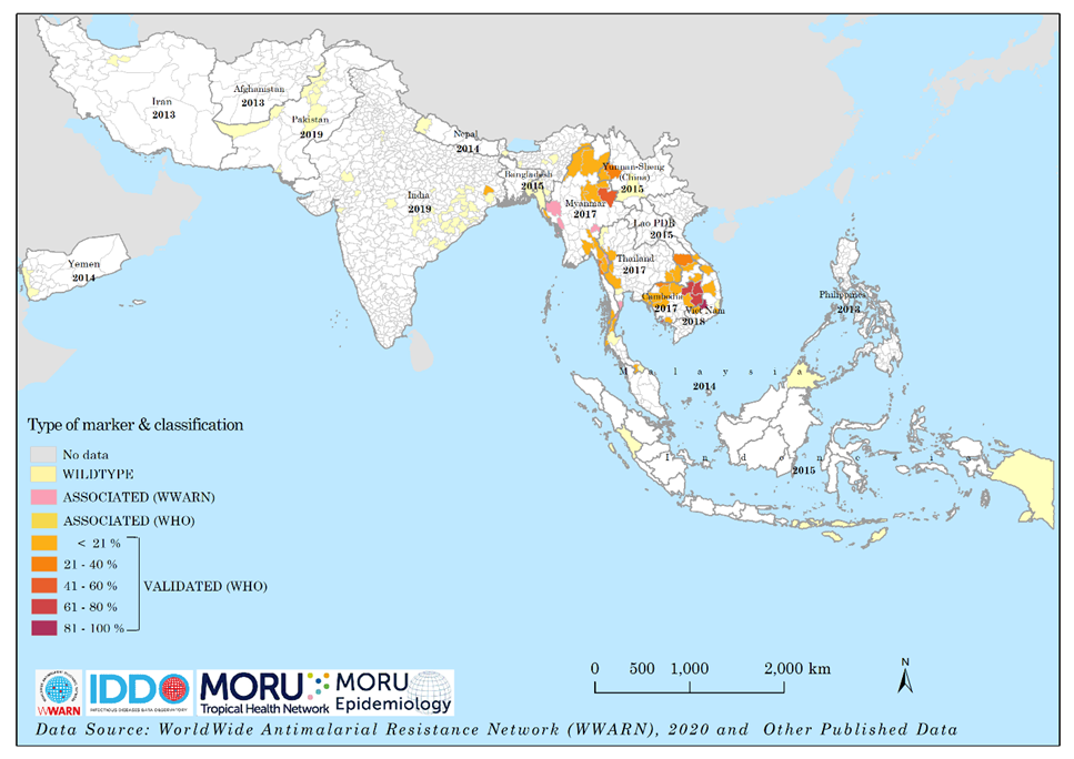 Spatial distribution of K13 markers in Asia by 2018. This map was produced from the pooling of published data between 2010 – 2020