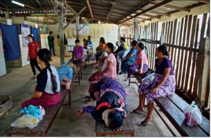 Waiting room of Wang Pha clinic, located on the Thai–Myanmar border run by Shoklo Malaria Research Unit. Photo by Alexander Kumar © 2018 MORU